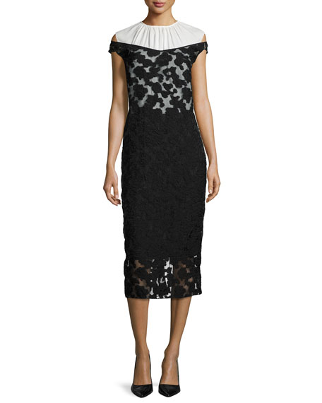 Nina RicciCold-Shoulder Lace Dress, Black