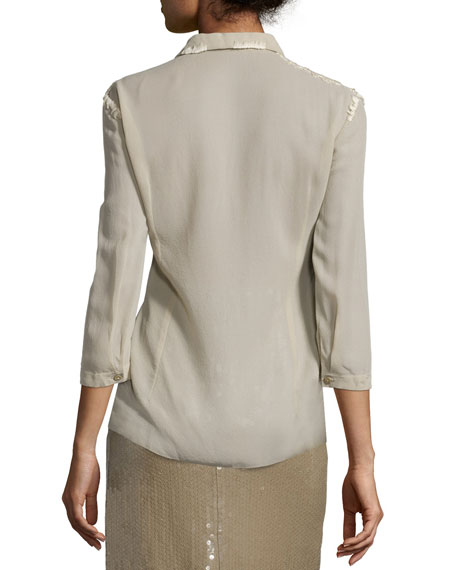3/4-Sleeve Button-Front Blouse, Sage Beige