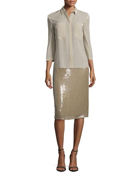 3/4-Sleeve Button-Front Blouse, Sage Beige
