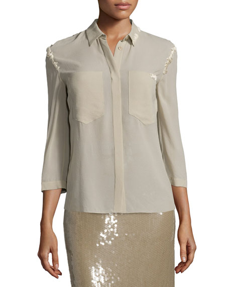 Nina Ricci 3/4-Sleeve Button-Front Blouse & Embellished Pencil
