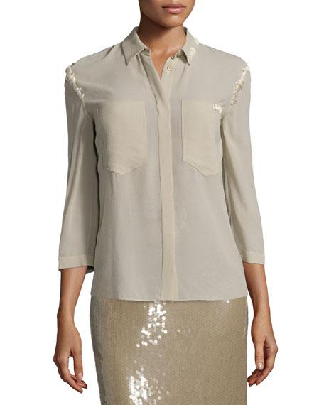 Nina Ricci 3/4-Sleeve Button-Front Blouse, Sage Beige