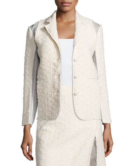 Nina Ricci Textured Combo Jacket, Silk White
