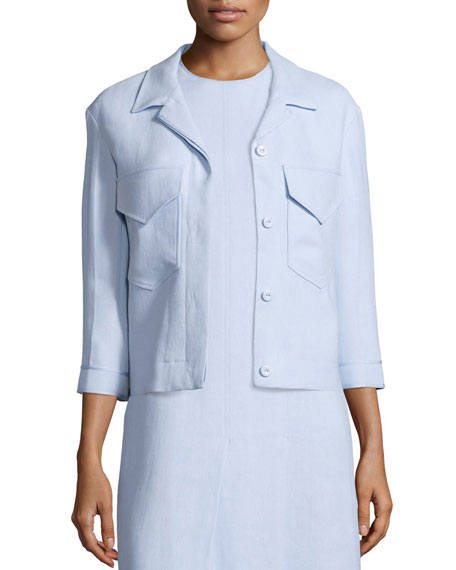 Nina Ricci3/4-Sleeve Button-Front Jacket, Oxford Blue
