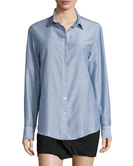 Isabel Marant Pinstriped Cotton Button-Down Blouse, Blue