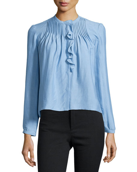 Long-Sleeve Pintuck Ruffle Blouse