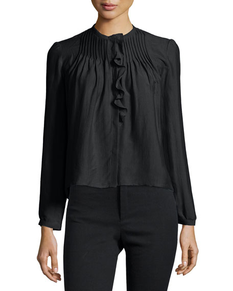 Long-Sleeve Pintuck-Ruffle Blouse, Black