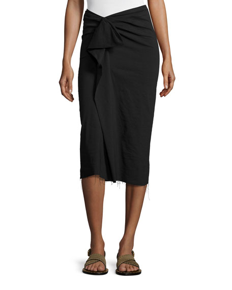 Isabel Marant Raw-Edge Ruffle-Front Pencil Skirt, Black