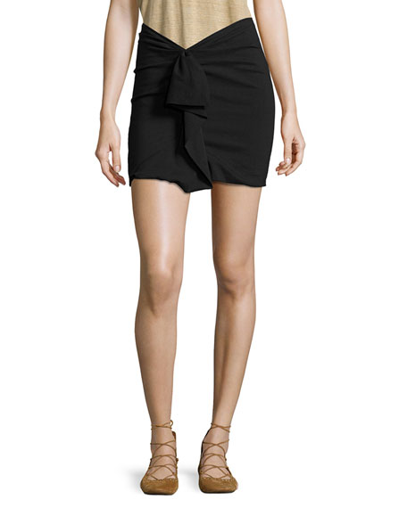 Isabel Marant Ruffled Linen-Stretch Jersey Mini Skirt, Black