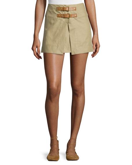 Isabel Marant Tromp-l'Oeil Double-Buckle Mini Skirt, Ficelle