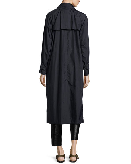 Wrap-Front Long-Sleeve Trenchcoat, Black