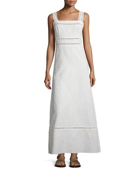 Isabel Marant Long Linen/Cotton Shoulder-Tie Dress, Chalk