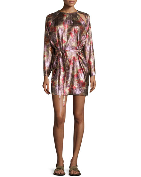 Isabel Marant Metallic Long-Sleeve Tie-Waist Dress, Antique Pink