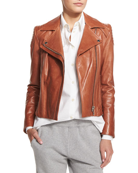 Belstaff Quilted-Shoulder Leather Moto Jacket, Brick