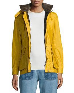 Waxed Long-Sleeve Hooded Jacket, Bright Mustard