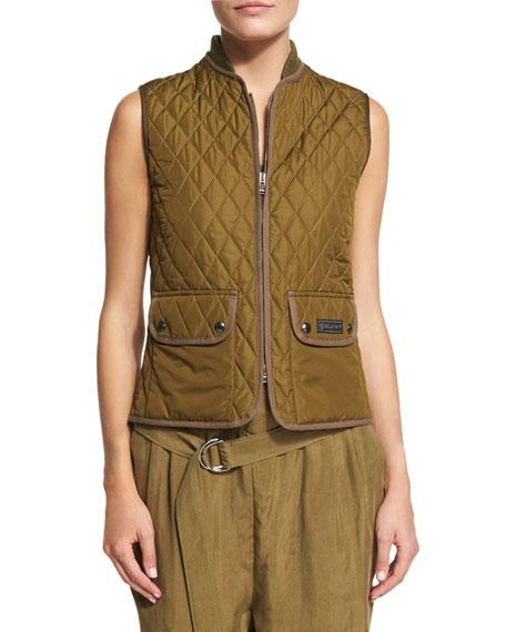 Belstaff Quilted Zip-Front Vest, Olive