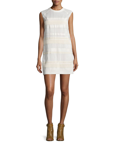 Belstaff Cap-Sleeve Lace Dress W/Leather Trim, Off White