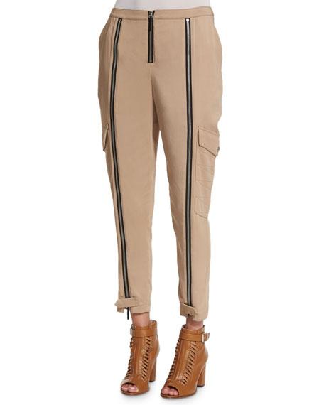 Belstaff Mid-Rise Easy Cropped Pants, Beige