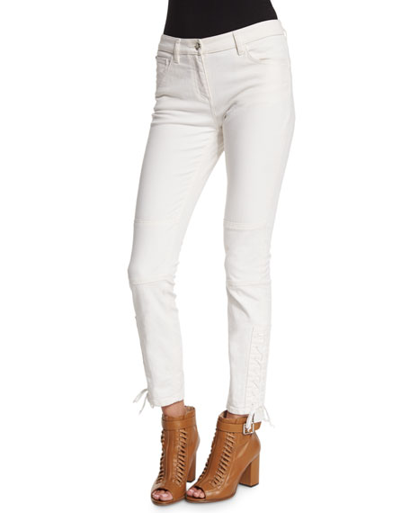 Belstaff Mid-Rise Lace-Up Ankle Jeans, Off White