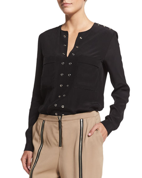 Belstaff Grommet-Trim Tunic Blouse, Black