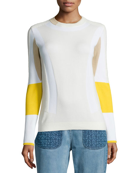 BelstaffColorblock Ribbed Moto Sweater, White/Yellow