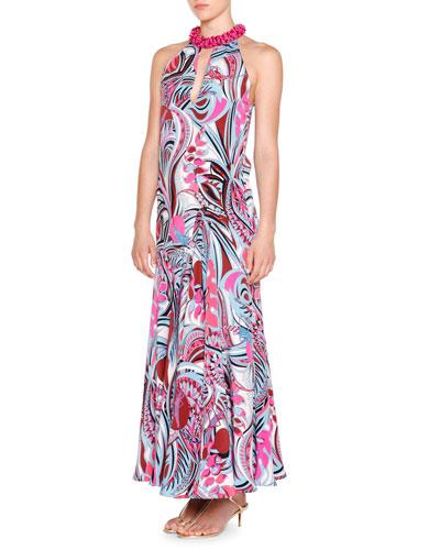 Sleeveless Embellished-Neck Gown, Fuchsia/Celeste