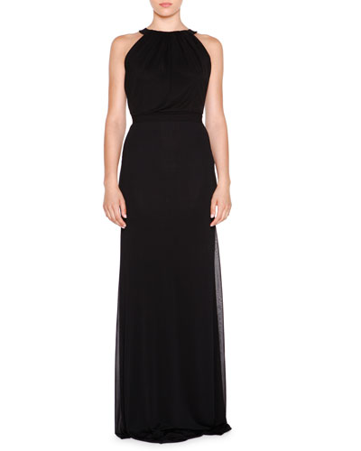 Sleeveless Jewel-Neck Gown, Nero