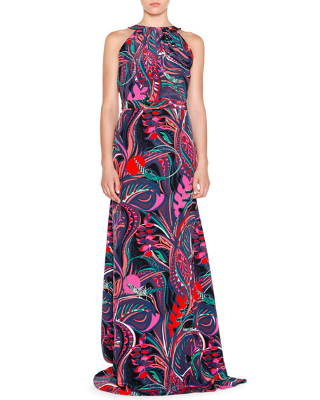 Emilio Pucci Sleeveless Multi-Print Maxi Dress, Nero/Smeraldo