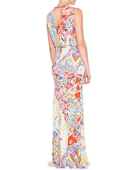 Sleeveless Mosaic-Print Maxi Dress, Celeste/Multi