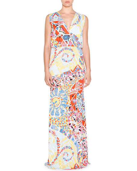 Emilio Pucci Sleeveless Mosaic-Print Maxi Dress, Celeste/Multi