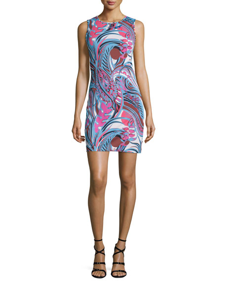 Emilio Pucci Sleeveless Printed Sheath Dress, Fuchsia/Celeste