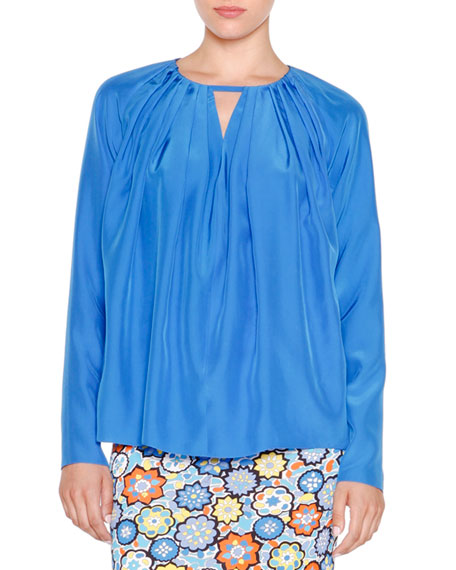 Emilio Pucci Long-Sleeve Pleated Top & Floral-Print Maxi