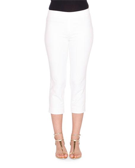 Emilio Pucci Mid-Rise Cropped Pants, Bianco Ottico