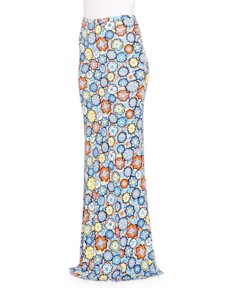Emilio Pucci Floral-Print Maxi Skirt, Turchese/Arancio