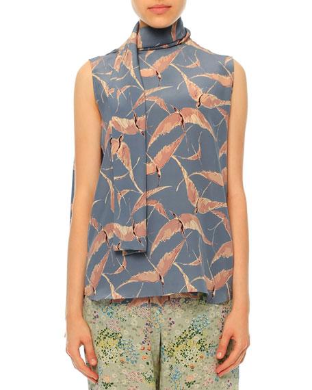 Valentino Sleeveless Bird-Print Tie-Neck Blouse, Multi Colors