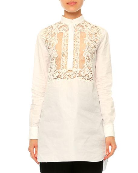 ValentinoLong-Sleeve Lace-Bib Blouse, White