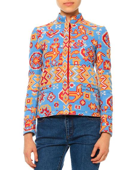 Valentino Long-Sleeve Tribal-Print Jacket, Multi Colors