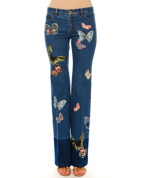 Valentino Mid-Rise Jeans W/Butterfly Embroidery, Blue