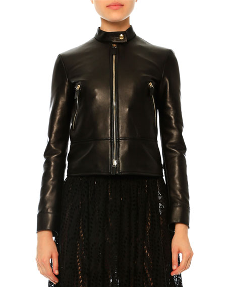 Valentino Leather Jacket W/Embroidered Dragon, Black