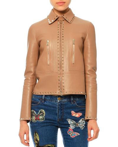 Rockstud-Trim Leather Jacket, Camel Rose