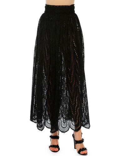 High-Waist Scalloped-Lace Skirt, Black