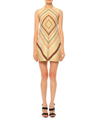 Sleeveless Diamond-Print A-Line Dress, Green Multi