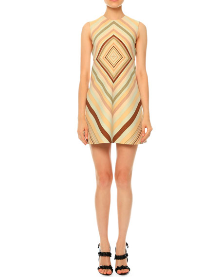 Valentino Sleeveless Diamond-Print A-Line Dress, Green Multi