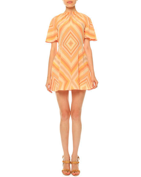 ValentinoMitered-Diamond Print Mini Dress, Coral