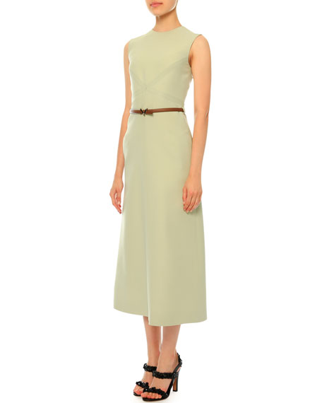 Valentino Sleeveless Jewel-Neck Belted Midi Dress, Light Green