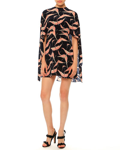 Jewel-Neck Bird-Print Capelet Dress, Navy