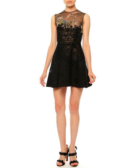 Valentino Sleeveless Embellished Cocktail Dress, Nero
