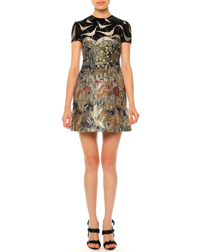 Short-Sleeve Landscape-Print Dress, Nero