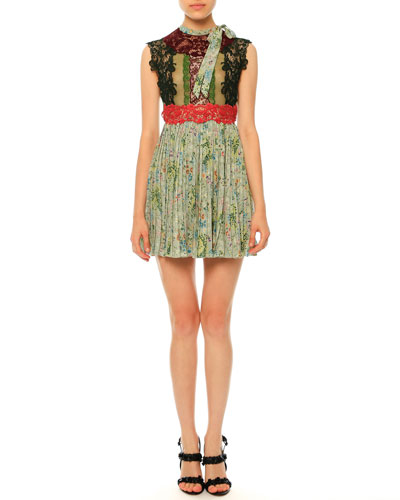 Sleeveless Lace & Garden-Print Plisse Dress, Multi Colors
