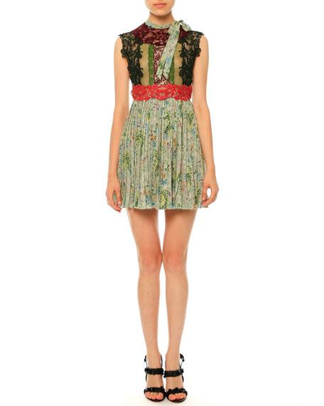 Valentino Sleeveless Lace & Garden-Print Plisse Dress, Multi