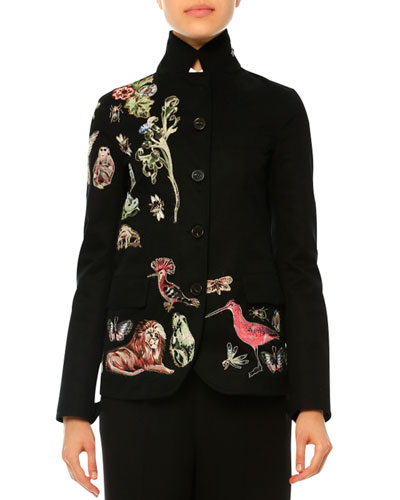 Button-Front Embroidered Blazer, Nero